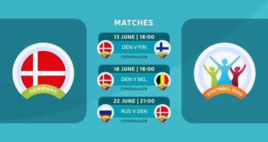 programação de jogos da seleção nacional da dinamarca na fase final do campeonato europeu de futebol de 2020. ilustração vetorial com o cascalho oficial das partidas de futebol.