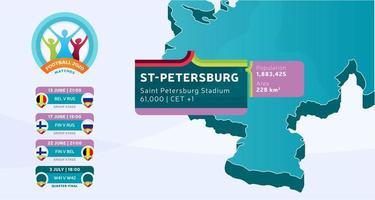 Mapa do país isométrico da Rússia marcado no estádio de São Petersburgo, que será realizada ilustração vetorial de jogos de futebol. infográfico da fase final do torneio de futebol 2020 e informações do país