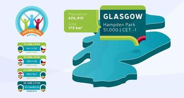 mapa isométrico do país da Escócia marcado no estádio de glasgow, que será realizado ilustração vetorial de jogos de futebol. infográfico da fase final do torneio de futebol 2020 e informações do país