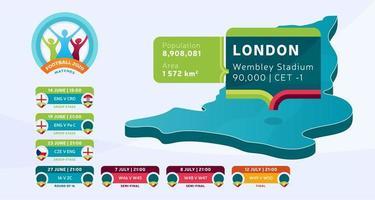 mapa isométrico do país de Londres marcado no estádio da inglaterra, que será realizada ilustração vetorial de jogos de futebol. infográfico da fase final do torneio de futebol 2020 e informações do país