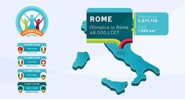 mapa isométrico do país itália marcado no estádio de roma, que será realizada ilustração vetorial de jogos de futebol. infográfico da fase final do torneio de futebol 2020 e informações do país
