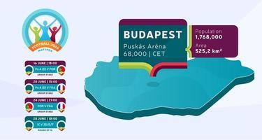 mapa isométrico do país da Hungria marcado no estádio de Budapeste, que será realizada ilustração vetorial de jogos de futebol. infográfico da fase final do torneio de futebol 2020 e informações do país