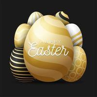 ilustração vetorial de ovos de páscoa de cartão de luxo. um grande ovo de ouro em primeiro plano com texto de felicitações dentro e muitos ovos pequenos escondidos no fundo. fundo preto. vetor