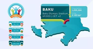 mapa isométrico do país do azerbaijão marcado no estádio de baku, que será realizada ilustração vetorial de jogos de futebol. infográfico da fase final do torneio de futebol 2020 e informações do país