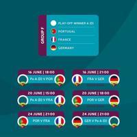 futebol 2020 torneio fase final grupo f ilustração vetorial das ações com programação de jogos. Torneio de futebol europeu de 2020 com plano de fundo. vetor bandeiras do país