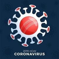vetor de bola de críquete sinal cautela coronavirus. parar o surto de covid-19. perigo de coronavírus e surto de gripe doença de risco para a saúde pública. cancelamento de eventos esportivos e conceito de partidas