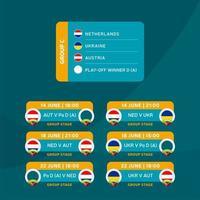 futebol 2020 torneio fase final grupo c ilustração vetorial das ações com programação de jogos. Torneio de futebol europeu de 2020 com plano de fundo. vetor bandeiras do país
