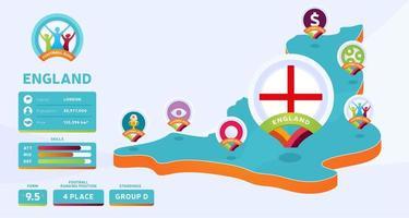 mapa isométrico da ilustração vetorial do país da Inglaterra. infográfico da fase final do torneio de futebol 2020 e informações do país. cores e estilo do campeonato oficial