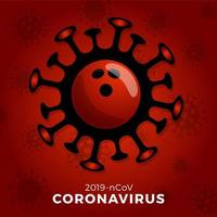 vetor de bola de boliche sinal cautela coronavirus. parar o surto de covid-19. perigo de coronavírus e risco de saúde pública, doença e surto de gripe. cancelamento de eventos esportivos e conceito de partidas