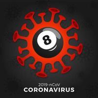 vetor de bola de bilhar sinal cautela coronavirus. parar o surto de covid-19. perigo de coronavírus e risco de saúde pública, doença e surto de gripe. cancelamento de eventos esportivos e conceito de partidas