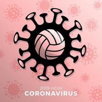 vetor de voleibol sinal cautela coronavirus. parar o surto de covid-19. perigo de coronavírus e risco de saúde pública, doença e surto de gripe. cancelamento de eventos esportivos e conceito de partidas