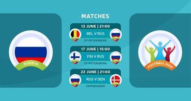 programação de jogos da seleção nacional da rússia na fase final do campeonato europeu de futebol de 2020. ilustração vetorial com o cascalho oficial das partidas de futebol.