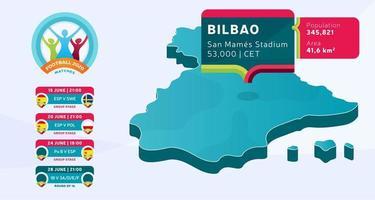 mapa isométrico do país espanha marcado no estádio de bilbao, que será realizada ilustração vetorial de jogos de futebol. infográfico da fase final do torneio de futebol 2020 e informações do país
