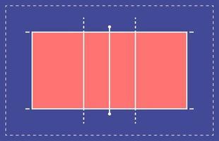 quadra de vôlei plana. campo com modelo de linha. estádio de vetor. ilustração do quadro tático. vetor