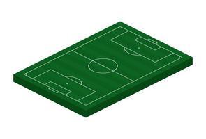 Campo de futebol isométrico 3D. ilustração em vetor tema esporte, campo de esportes de futebol, estádio. elemento de design editável isolado para infográficos, banner