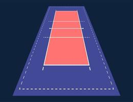 perspectiva arena plana de voleibol. campo com modelo de linha. estádio de vetor. ilustração do quadro tático.