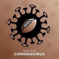 vetor de bola de futebol americano assinar cautela coronavirus. parar o surto de covid-19. perigo de coronavírus e risco de saúde pública, doença e surto de gripe. cancelamento de eventos esportivos e conceito de partidas