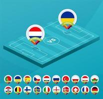 futebol europeu 2021 campeonato isométrico jogo contra equipes intro fundo de esporte, cartaz final de competição de campeonato, ilustração vetorial de estilo simples. definir a bandeira do país na fase de grupos