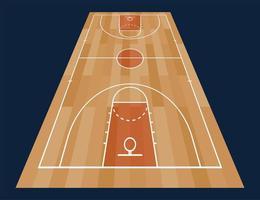 perspectiva do piso da quadra de basquete com linha no fundo de textura de madeira. ilustração vetorial