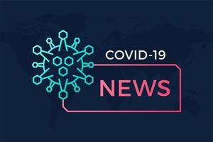 banner de manchete de notícias de última hora covid-19 ou coronavírus no mundo. coronavírus em ilustração vetorial wuhan. pôster com mapa mundial