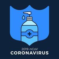 sabonete ou gel desinfetante e escudo usando antibacteriano, ícone de vírus, higiene, ilustração médica. proteção do coronavírus covid-19