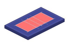 campo ou arena de quadra para jogar vôlei em isométrica, ilustração vetorial
