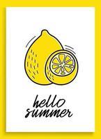cartão inspirador de verão limão com frutas doodles isolado no fundo branco. ilustração colorida para cartões ou gravuras. ilustração vetorial de limão