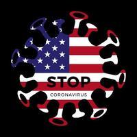 Bandeira dos Estados Unidos da América com o símbolo do vírus stop corona, 2019-ncov, ilustração vetorial.