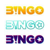 tipografia de vetor de bingo. letras brilhantes retrô de loteria. jogo de azar e conceito de casino.