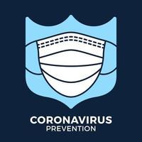 máscara facial de banner em coronavírus de prevenção de ícone de escudo. ilustração em vetor sinal covid-19 de proteção de conceito. fundo de projeto de prevenção covid-19.