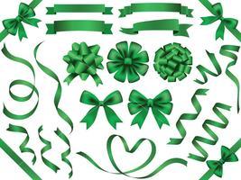 Um conjunto de fitas verdes variadas. vetor