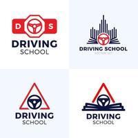 logotipo de vetor de escola de condução. roda de carro com design de logotipo de sinal de estrada. treinamento, veículo, transporte e transporte, desenho vetorial e ilustração