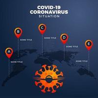 covid-19, covid 19 mapa com relatório infográfico em todo o mundo. atualização da situação da doença coronavírus em 2019 em todo o mundo. A área de infográfico de mapas mostra a situação no mundo. voo cancelado com avião