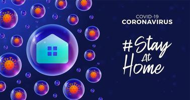 futurista ficar em casa durante o conceito de surto de coronavírus. conceito de prevenção da doença covid-19 com células de vírus, bola realista brilhante sobre fundo azul