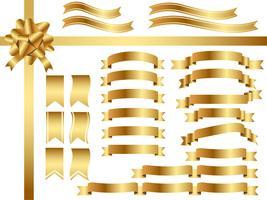 Um conjunto de fitas douradas variadas. vetor