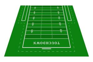 perspectiva meio campo de futebol americano verde. vista de frente. campo de rugby com modelo de linha. ilustração vetorial estádio.