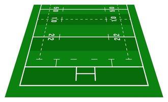 perspectiva meio campo rugby verde. vista de frente. campo de rugby com modelo de linha. ilustração vetorial estádio.