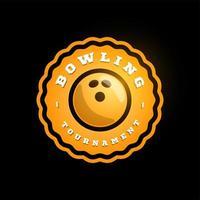 logotipo de vetor circular laranja de boliche. moderno tipografia profissional esporte estilo retro vector emblema e modelo de design de logotipo. logotipo amarelo de boliche