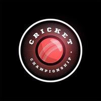 tipografia profissional moderna críquete esporte super herói estilo emblema vetorial e modelo de design de logotipo com bola. Saudações engraçadas para roupas, cartão, crachá, ícone, cartão postal, banner, etiqueta, adesivos, impressão.