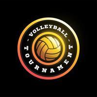 logotipo de vetor circular de vôlei. moderno tipografia profissional esporte estilo retro vector emblema e modelo de design de logotipo. logotipo colorido do vôlei