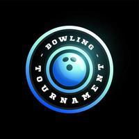 logotipo de vetor circular de boliche. moderno tipografia profissional esporte estilo retro vector emblema e modelo de design de logotipo. logotipo azul de boliche.