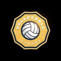logotipo de vetor de forma abstrata de voleibol. moderno tipografia profissional esporte estilo retro vector emblema e modelo de design de logotipo. logotipo colorido do vôlei