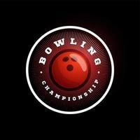 logotipo de vetor circular de boliche. moderno tipografia profissional esporte estilo retro vector emblema e modelo de design de logotipo. logotipo vermelho de boliche