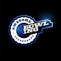 logotipo de vetor de boliche. moderno tipografia profissional esporte estilo retro vector emblema e modelo de design de logotipo. logotipo azul do boliche.