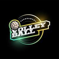 logotipo de vetor de voleibol. moderno tipografia profissional esporte estilo retro vector emblema e modelo de design de logotipo. logotipo colorido do vôlei
