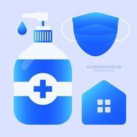 prevenção de covid-19 tudo em um ícone conjunto ilustração vetorial. coleção de conjunto de ícones de proteção de coronavírus. fique em casa, use máscara facial, use desinfetante para as mãos