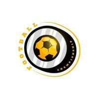 logotipo de vetor circular futebol futebol. moderno tipografia profissional esporte estilo retro vector emblema e modelo de design de logotipo. logotipo colorido do futebol