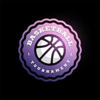 vetor logotipo da liga de basquete com bola. Crachá esportivo de cor roxa e branca para campeonato ou liga