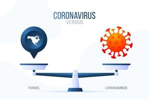 coronavírus ou ilustração vetorial de viagens. conceito criativo de escalas e versus, de um lado da escala está o vírus covid-19 e, do outro, o ícone do mapa. ilustração vetorial plana.