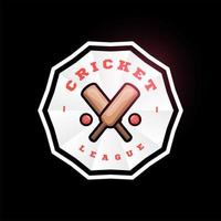 logotipo de vetor de círculo de críquete com bastão cruzado. moderno tipografia profissional esporte estilo retro vector emblema e modelo de design de logotipo. logotipo colorido do vôlei